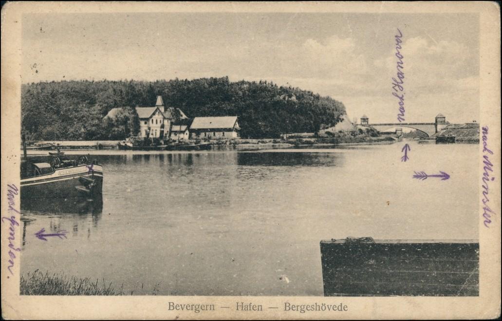 Ansichtskarte Bevergern-Hörstel Hafen - Häuser Bergeshövede 1921 0
