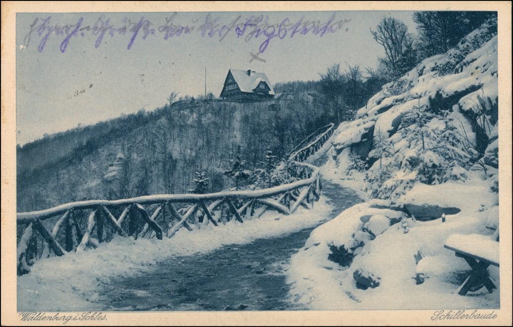 Postcard Waldenburg (Schlesien) Wałbrzych Schillerbaude im Winter 1926 0