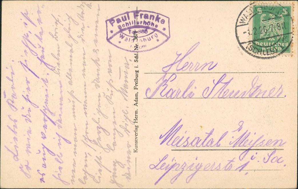 Postcard Waldenburg (Schlesien) Wałbrzych Schillerbaude im Winter 1926 1