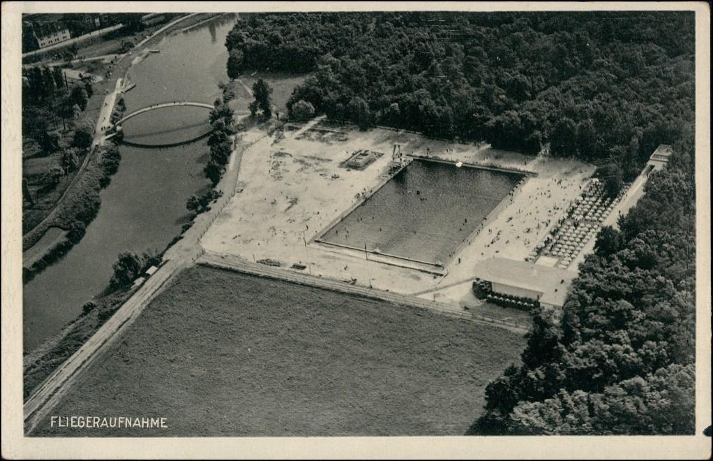 Ansichtskarte Leuna Luftbild Schwimmbad 1937 0
