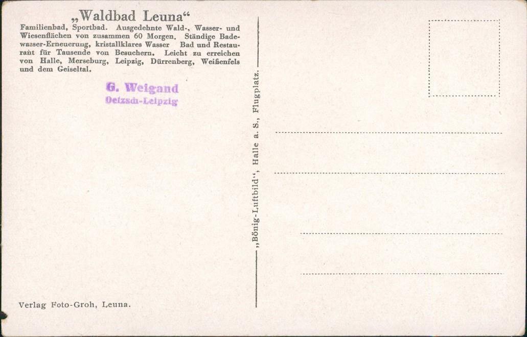 Ansichtskarte Leuna Luftbild Schwimmbad 1937 1