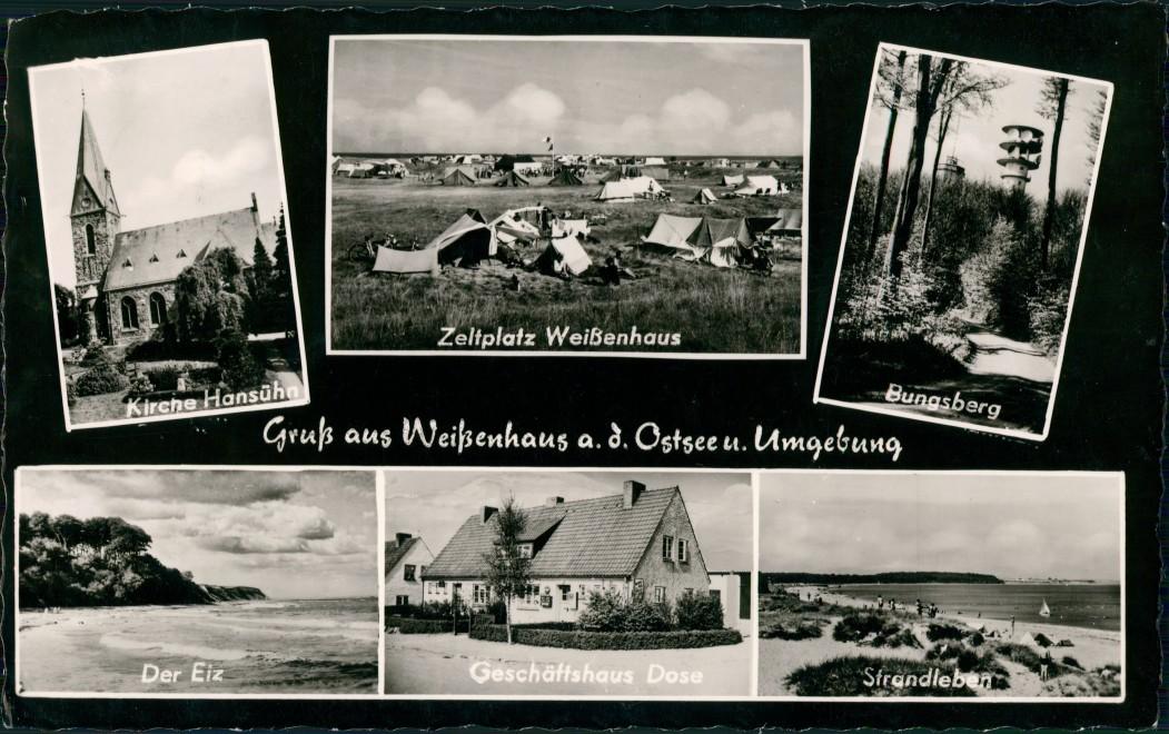 Ansichtskarte Weißenhaus Ostsee Kirche, Zeltplatz, Bungsberg 1960 0