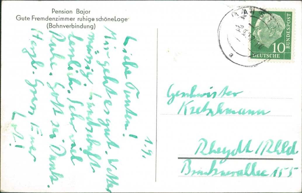 Ansichtskarte Bad Herrenalb Pension Bajor Gaistal 1959 1