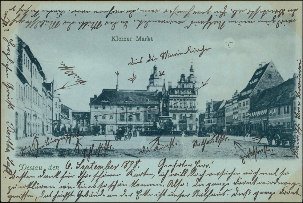 Ansichtskarte Dessau-Dessau-Roßlau Mondscheinlitho Kleiner Markt 1898 0