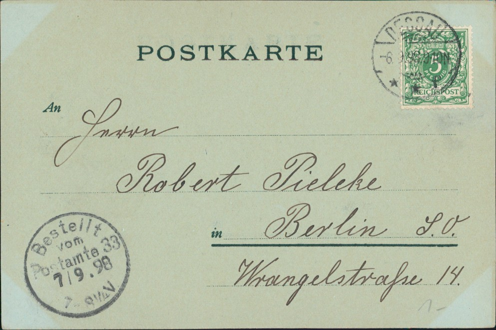 Ansichtskarte Dessau-Dessau-Roßlau Mondscheinlitho Kleiner Markt 1898 1
