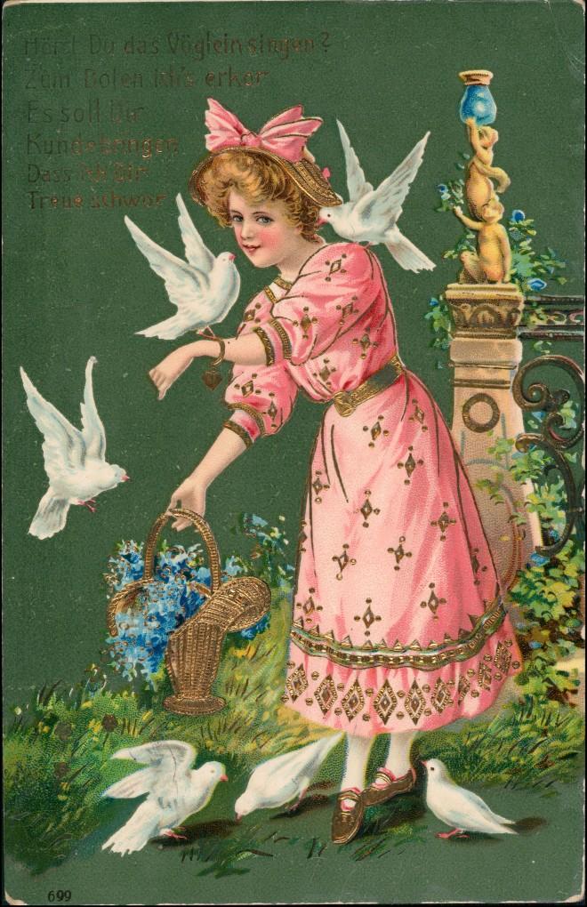 Ansichtskarte  Präge-Goldkarte Mädchen und Tauben 1912 Goldrand 0