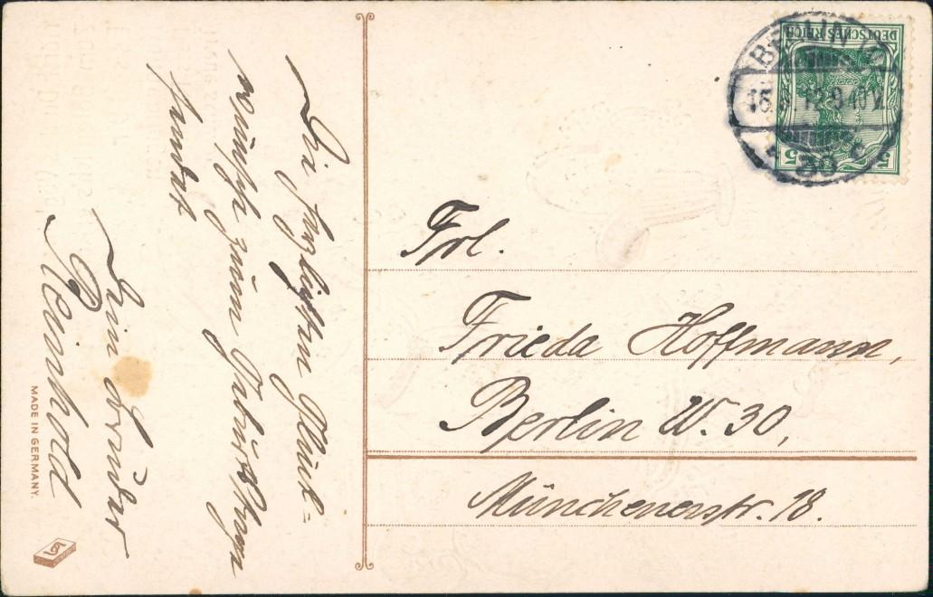 Ansichtskarte  Präge-Goldkarte Mädchen und Tauben 1912 Goldrand 1