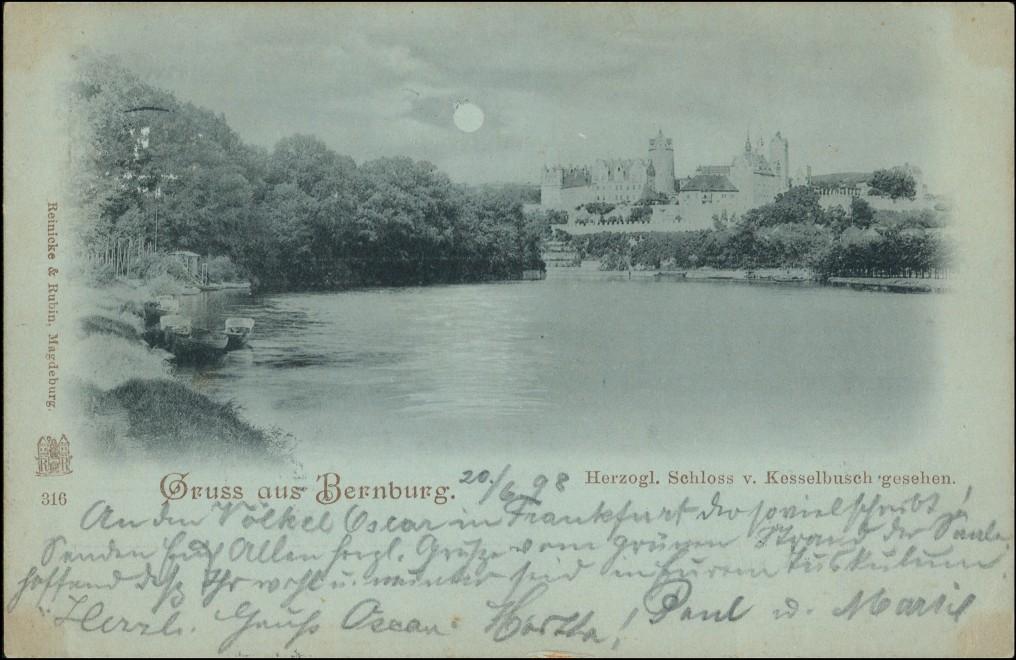 Ansichtskarte Bernburg (Saale) Schloss von Kesselbusch Mondscheinlitho 1898 0