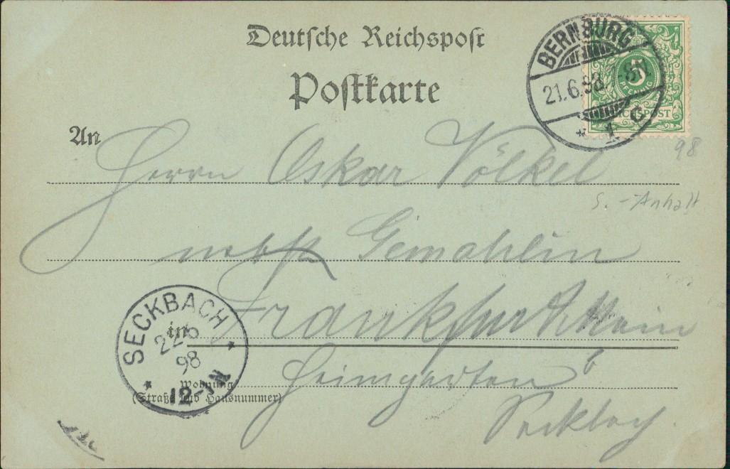 Ansichtskarte Bernburg (Saale) Schloss von Kesselbusch Mondscheinlitho 1898 1