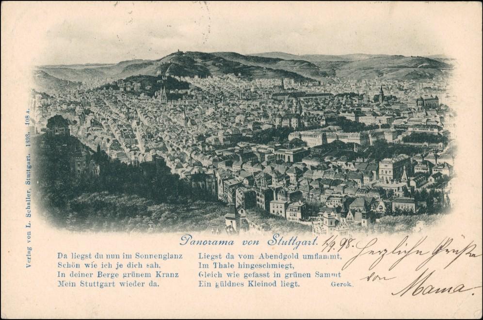 Ansichtskarte Stuttgart Blick auf die Stadt - Künstlerkarte 1898 0