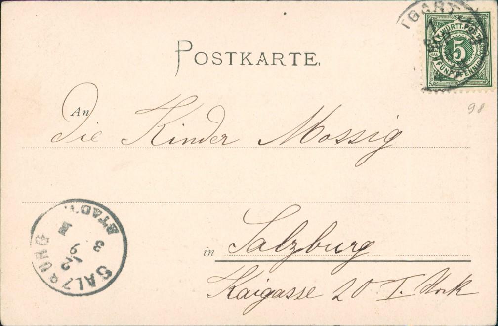 Ansichtskarte Stuttgart Blick auf die Stadt - Künstlerkarte 1898 1