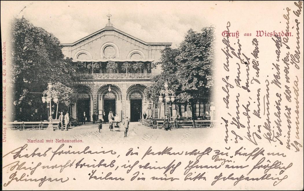 Ansichtskarte Wiesbaden Kursaal mit Restauration 1899 0