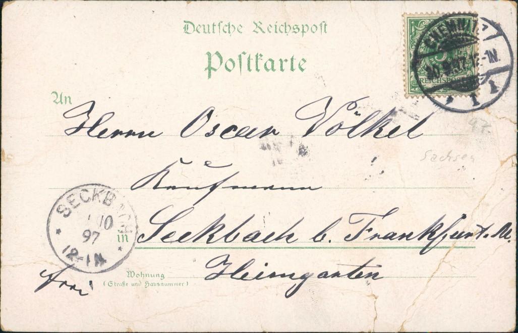 Ansichtskarte Litho AK Chemnitz Gruss aus Carola Hotel, Bahnhof 1897 1