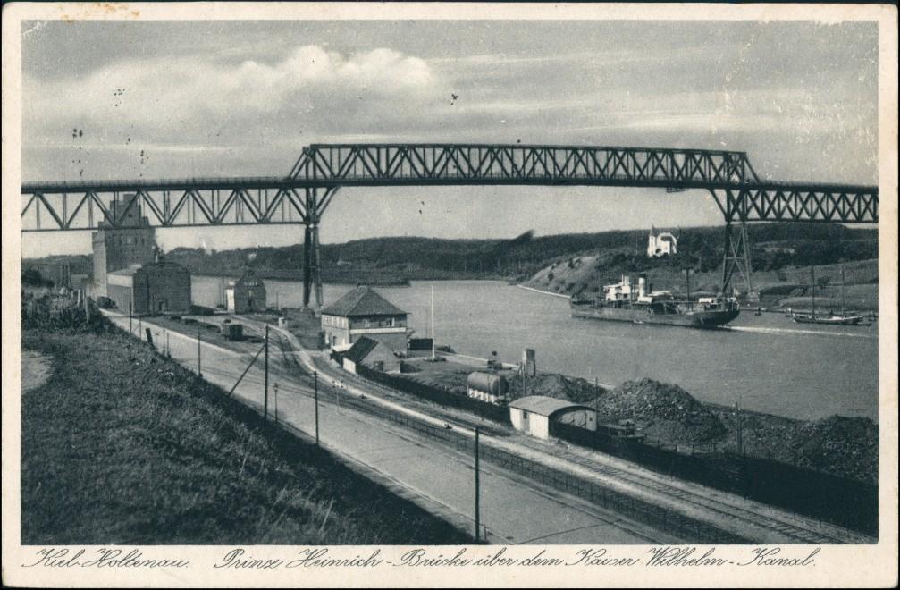 Ansichtskarte Holtenau-Kiel Holtenå Prinz-Heinrich-Brücke, Hafen Anlage 1938 0