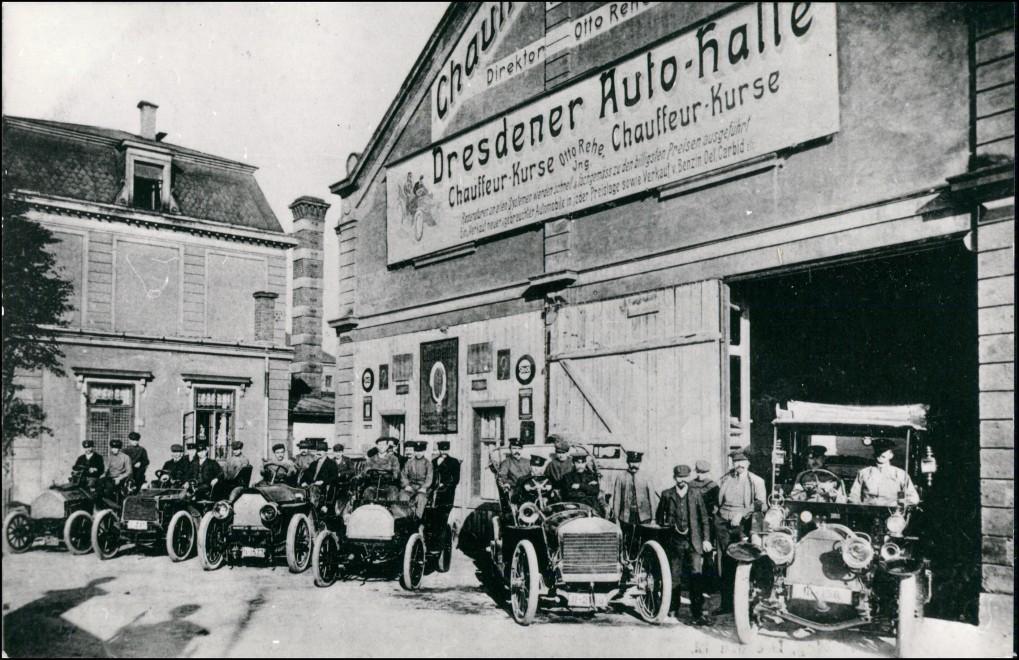 Ansichtskarte Dresden Dresdner Autohalle - Autos 1912/1992 REPRO 0