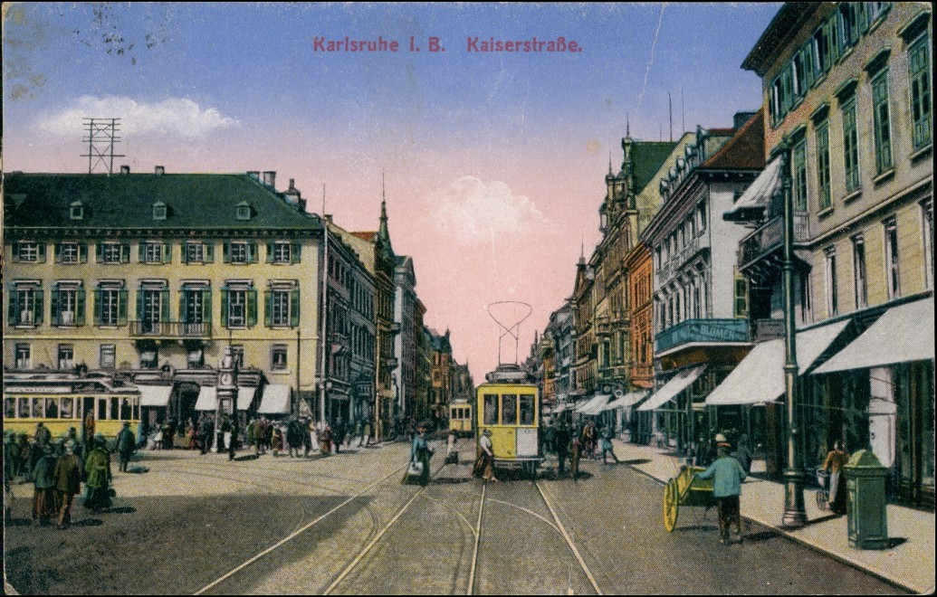 Ansichtskarte Karlsruhe Kaiserstraße, Straßenbahn 1917 0