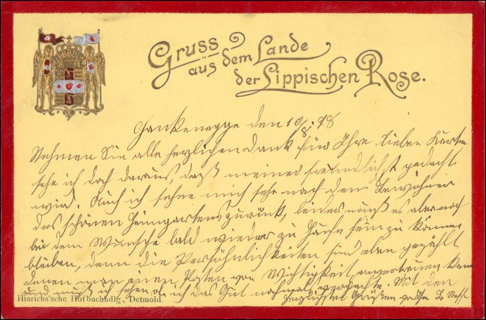 Heraldik Präge Ak aus dem Land der Lippischen Rose 1898 Goldrand 0