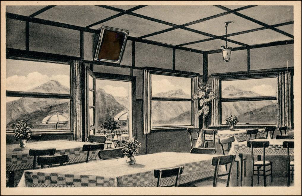 """Ansichtskarte Neubeuern Gasthaus und Café ,,Zur Haschlalm"""" innen 1928 0"""