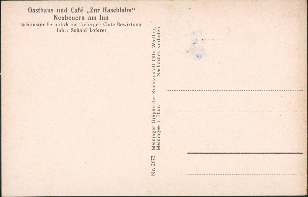 """Ansichtskarte Neubeuern Gasthaus und Café ,,Zur Haschlalm"""" innen 1928 1"""