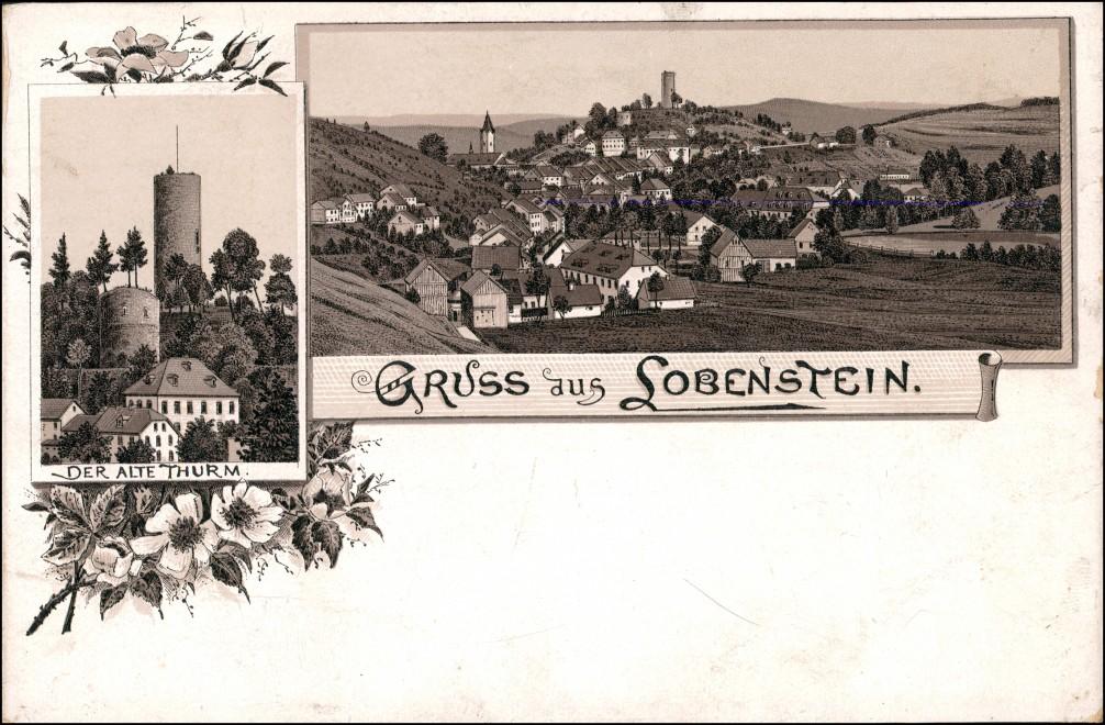Ansichtskarte Bad Lobenstein Gruss aus: Stadt Alter Turm 1901 0