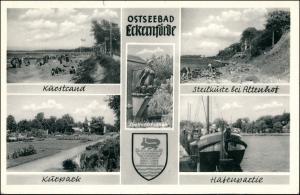 Ansichtskarte Eckernförde Hafen, Kurstrand, Altenhof 1956