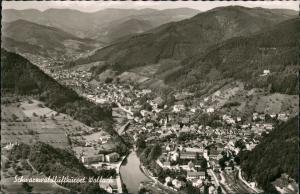 Wolfach (Schwarzwald) Luftbild Überflug des Ortes im Schwarzwald 1966