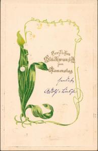 Glückwunsch Geburtstag Maiglöckchen - Jugenstil 1903 Prägekarte