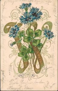 Künstlerkarte Jugenstil Gold Blumen Ornament Prägekarte 1905  Prägekarte