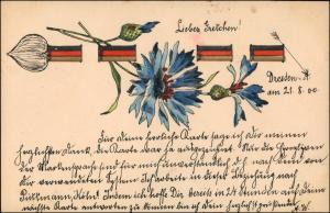 Ansichtskarte  Künstlerkarte Blaue Nelke 1900 Prägekarte