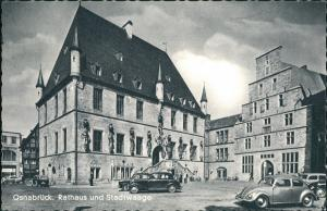 Osnabrück Rathaus Vorplatz div. Autos ua. Auto Volkswagen VW Käfer 1962