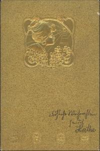 Ansichtskarte  Goldkarte Frauenpräge AK - Gold - Jugenstil 1904 Goldrand