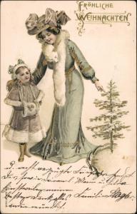 Ansichtskarte  Weihnachten - Frau und Kind Prägekarte Gold 1907 Goldrand