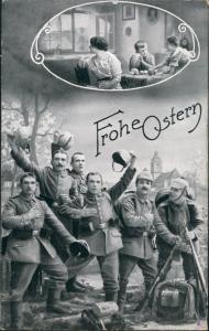 Militär Propaganda Soldaten FROHE OSTERN Osterkarte 1. Weltkrieg 1914