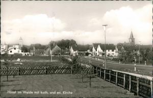 Hösel-Ratingen Strassen Ansicht Hösel im Walde Blick Kirchen 1977/1969