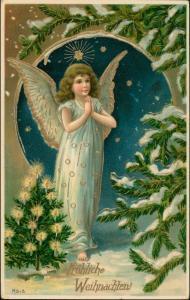 Glückwunsch/  Weihnachten Motiv: Engel Goldprägekarte Angel 1910 Goldrand