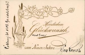Ansichtskarte  Goldornament Schilff Seerosen Jugendstil 1903 Goldrand
