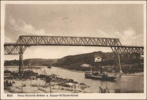 Holtenau-Kiel Holtenå Prinz-Heinrich-Brücke, Kanal - Dampfer 1927