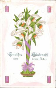 Ansichtskarte  Jugenstil - Neujahr - Vase Blumen 1906 Goldrand