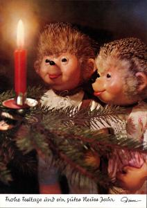 Ansichtskarte  Mecki (Diehl-Film): Weihnachtsbaum Kerze bestaunen 1975