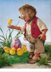 Ansichtskarte  Mecki (Diehl-Film) Ostern Küken, Puppenfigur 1975