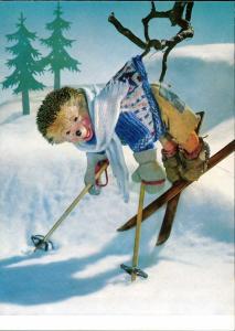 Ansichtskarte  Mecki (Diehl-Film): Skifahren, Unfall im Baum gelandet 1970
