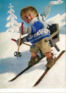 Ansichtskarte  Mecki Diehl-Film mit Comicfigur auf Ski 1975