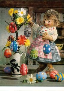 Ansichtskarte  Mecki (Diehl-Film): Osterstrauch mit Ostereiern, Ostern 1970
