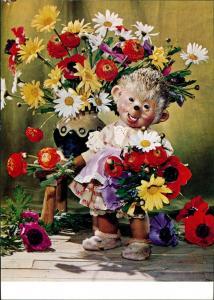 Ansichtskarte  Mecki (Diehl-Film): Blumenstrauß Herzlichen Glückwunsch 1970