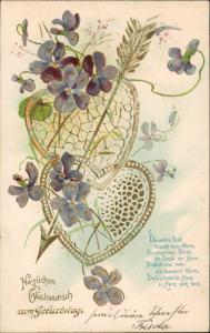 Ansichtskarte  Glückwunsch Geburtstag Feilchen Herzen Blumen 1906 Goldrand