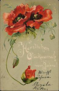 Ansichtskarte  Mohnblumen - Prägekarte Geburtstag 1908 Prägekarte