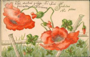 Geburtstag - MNohnblumen Prägekarte Jugendstil 1906 Prägekarte