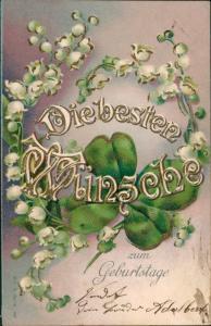 Maiglöckchen Kleeblatt Kümstlerkarte geprägt Geburtstag 1906 Goldrand