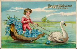 Ansichtskarte  Prägekarte Schwan Feilchen Junge Goldkarte 1914 Goldrand