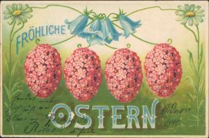 Ostern - Jugendstil Feilche Blumenostereier Künstlerkarte 1904 Prägekarte